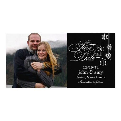 Hanging Snowflakes Save The Date Card - Black Photo Card