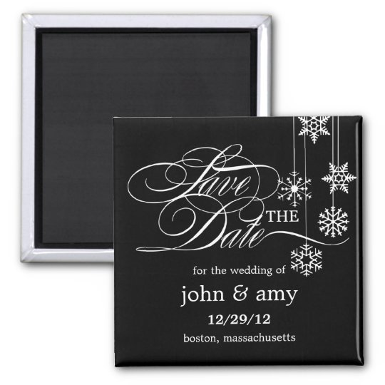 Hanging Snowflakes Save The Date Magnet