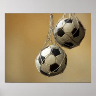 Hanging Soccer Balls Poster