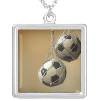 Hanging Soccer Balls Silver Plated Necklace