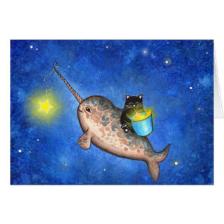 Hanging Stars with a Friendly Narwhal Card
