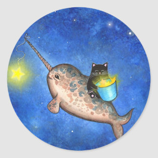 Hanging Stars with a Friendly Narwhal Classic Round Sticker