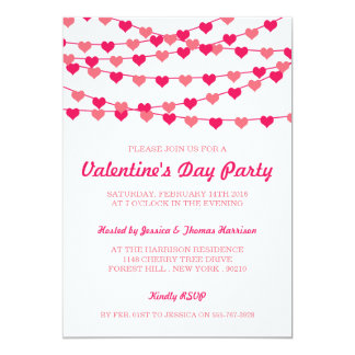 Hanging String Love Hearts Valentine's Day Party Card