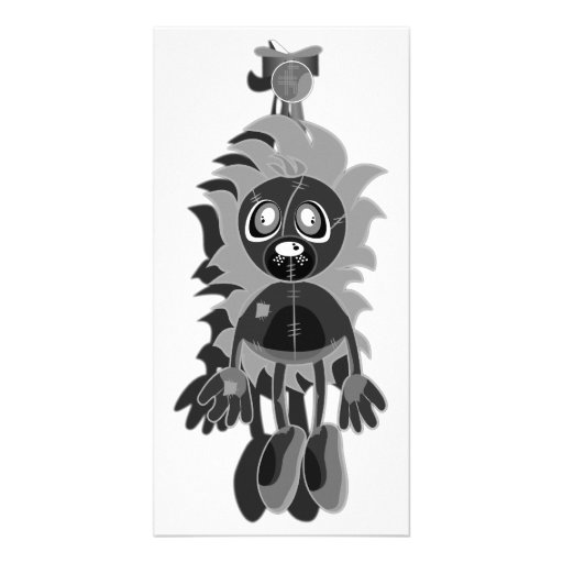 Hanging Teddy Black & White Negative Photo Card Template