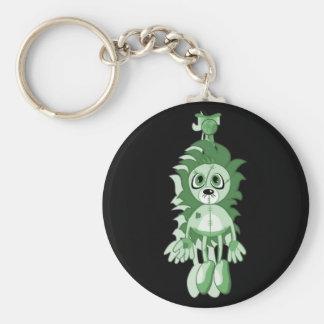 Hanging Teddy Green Basic Round Button Key Ring