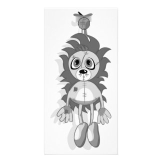 Hanging Teddy Grey Black White Photo Card Template