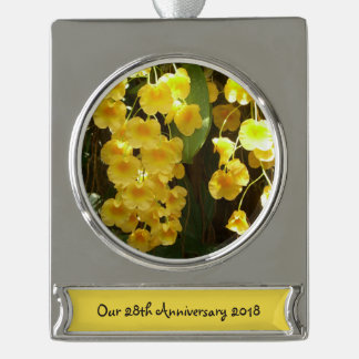 Hanging Yellow Orchids Tropical Flowers Silver Plated Banner Ornament