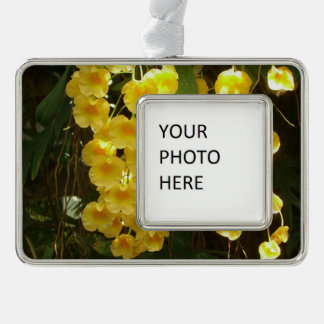Hanging Yellow Orchids Tropical Flowers Silver Plated Framed Ornament