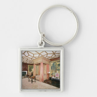 Hangings and Coverlet Silver-Colored Square Key Ring