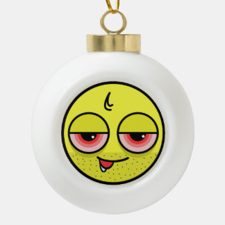 Hangover Face Ceramic Ball Christmas Ornament