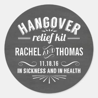 Hangover Relief Kit | Chalkboard Wedding Favor Round Sticker