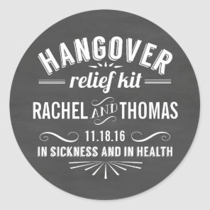 Hangover Relief Kit | Chalkboard Wedding Favour Classic Round Sticker