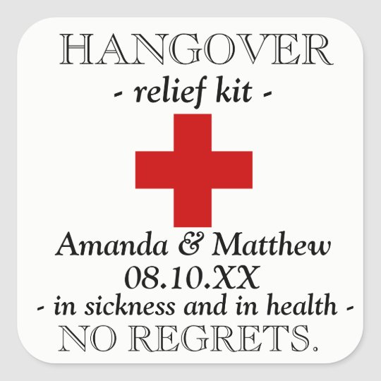 Hangover Relief Kit Favour Sticker