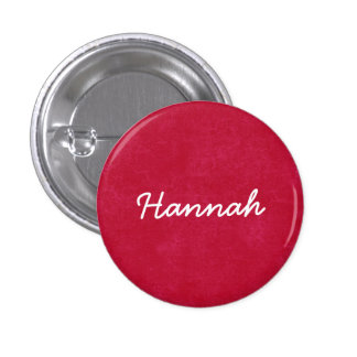 HANNAH Red and White Custom Name Gift Collection Pin