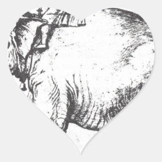 Hanno, The Popes Leo X Elephant by Raphael Heart Sticker