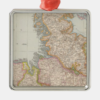 Hannover, SchleswigHolstein, North Germany Map Silver-Colored Square Decoration