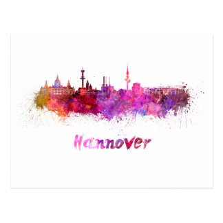 Hannover skyline in watercolor postcard