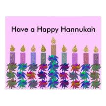Hannukah Flower Menorah Post Cards