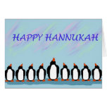 Hannukah penguins greeting card