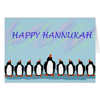 Hannukah penguins greeting card