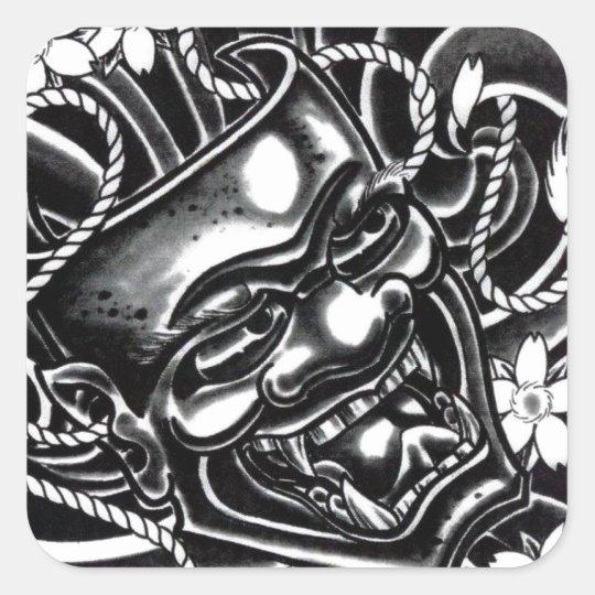 Hannya Mask Tattoo Design Square Sticker