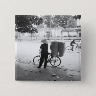 Hanoi Vietnam, Bicyle Delivery Woman (NR) 15 Cm Square Badge