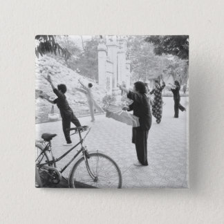 Hanoi Vietnam, Morning Excercises by Hoan Kiem 15 Cm Square Badge
