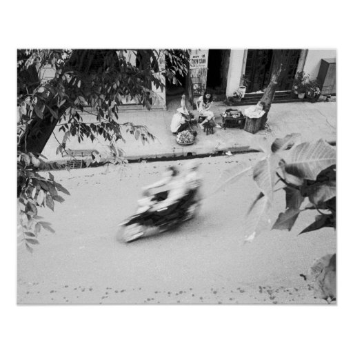 Hanoi Vietnam, Motorbike in Old Hanoi Poster