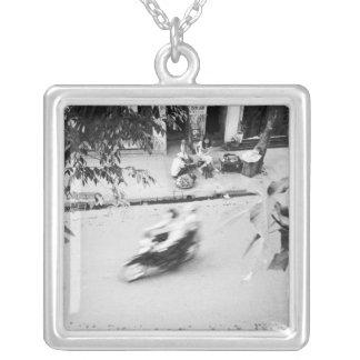 Hanoi Vietnam, Motorbike in Old Hanoi Square Pendant Necklace
