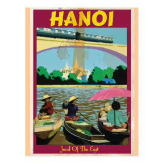 Hanoi vintage travel poster post card