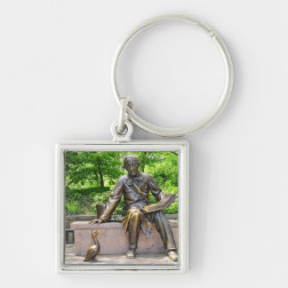 Hans Christian Andersen in Central park Silver-Colored Square Key Ring