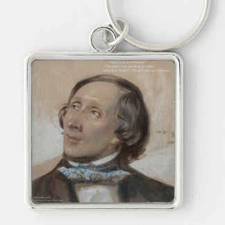 """Hans Christian Andersen """"Sunshine Freedom"""" Gifts Silver-Colored Square Key Ring"""