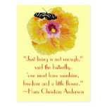 Hans Christian Anderson Butterfly Quote Post Cards
