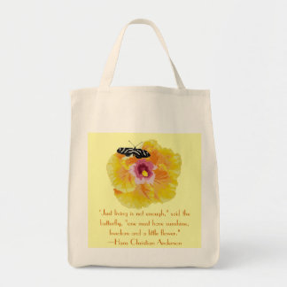 Hans Christian Anderson Butterfly Quote Grocery Tote Bag