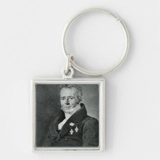 Hans Christian Orsted, engraved by Kaufmann Silver-Colored Square Key Ring