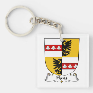 Hans Family Crest Single-Sided Square Acrylic Key Ring