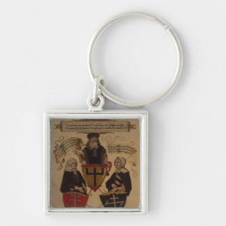 Hans Fugger two wives Clara Widolf and Elisabeth Silver-Colored Square Key Ring