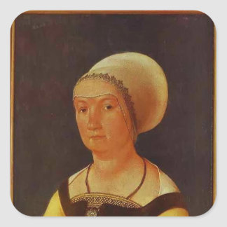 Hans Holbein - Portrait of 34 year old Woman Square Sticker