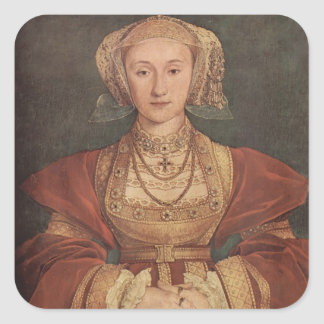 Hans Holbein- Portrait of Anne of Cleves Square Stickers