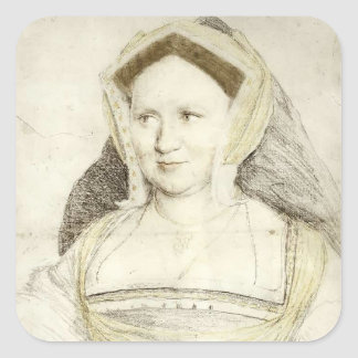 Hans Holbein - Portrait of Lady Mary Guildford Square Sticker