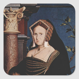 Hans Holbein- Portrait of Mary Wotton Square Stickers