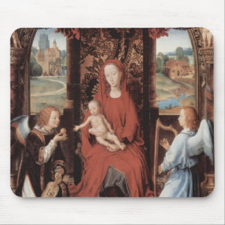 Hans Memling-Madonna,Child Enthroned with Angels Mouse Pads