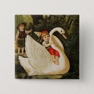 Hansel and Gretel and the Swan 15 Cm Square Badge