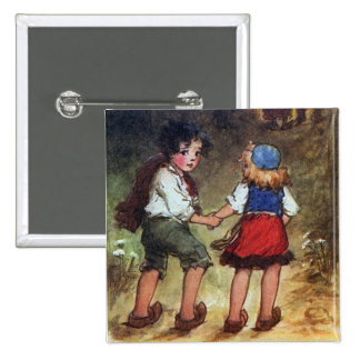 Hansel and Gretel Head Into the Woods 15 Cm Square Badge