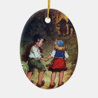 Hansel and Gretel Head Into the Woods Ceramic Oval Decoration