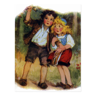 Hansel and Gretel Lost in the Woods Postcard