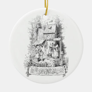 Hansel and Gretel Meet the Witch Round Ceramic Decoration