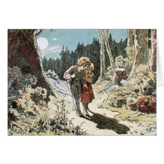 Hansel and Gretel on the Path in the Moonlight Greeting Card