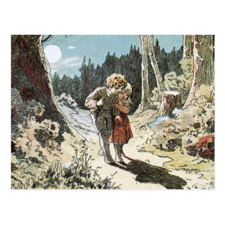 Hansel and Gretel on the Path in the Moonlight Post Card