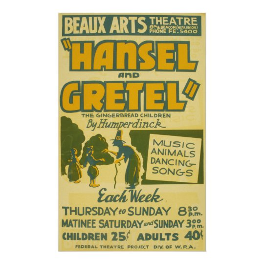 Hansel and Gretel Vintage Theatre Poster